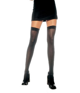c208a9e2eda Image is loading Leg-Avenue-Opaque-Nylon-Thigh-High-Stockings-6672
