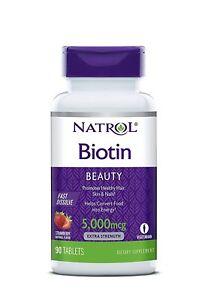 Natrol Biotin Fast Dissolve Tablets, Strawberry flavor, 5,000mcg, 90 Count