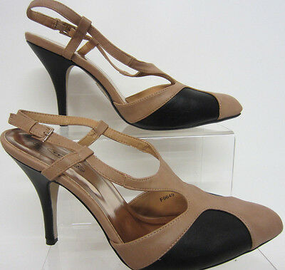 Spot On f9649 MUJER CON TIRA TRASERA Zapatos De Salón Negro / COLOR CARNE
