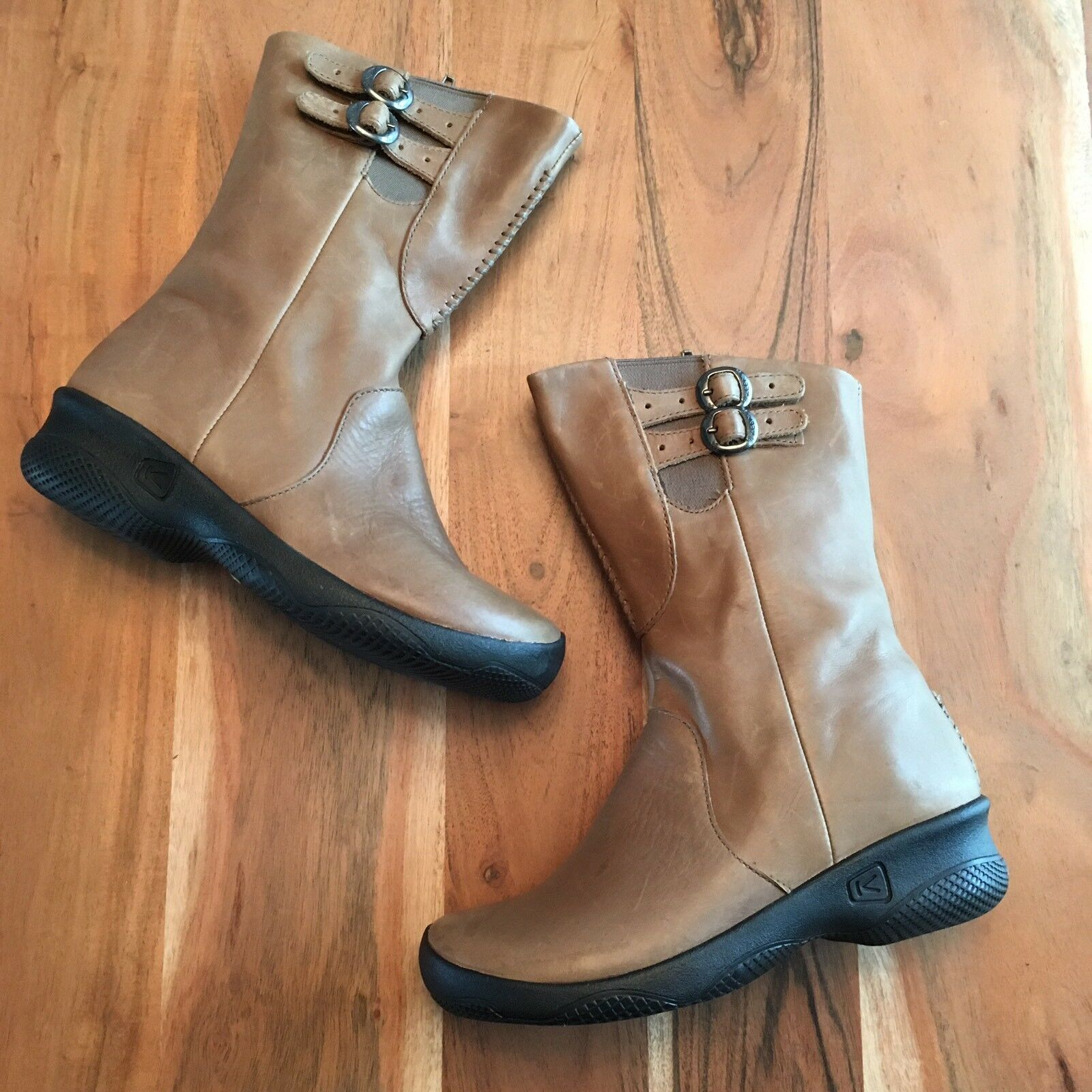 Keen Bern Baby Bern Mid-Cals Oatmeal Brown Leather Boots Women's sz 6