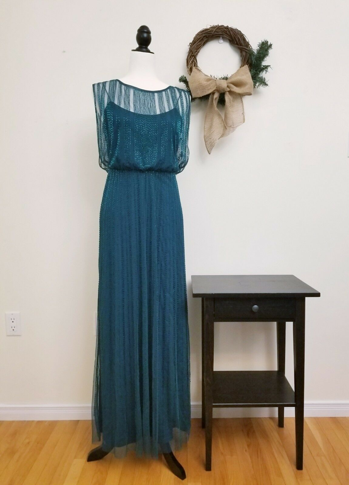 Adrianna Papell Beaded Boat Neck Cap Sleeve Blouson Gown, Emerald Green, 6P