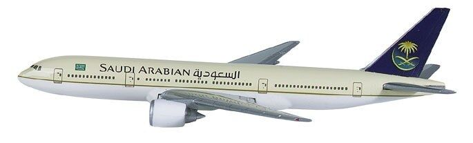 Herpa 504836 Saudia Saudi Arabian Airlines Boeing 777-200 1 500 Scale RET 2001