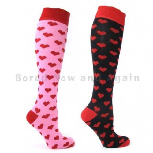 Knee High Cotton Rich Welly Festival Socks Red Hearts on Pink or Black