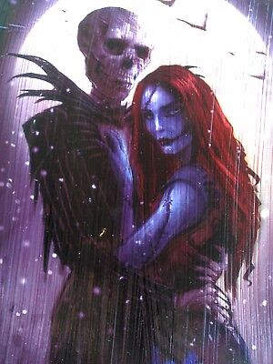 Nightmare Before Christmas Realistic Jack And Sally Framed Wood Fan Art Ebay