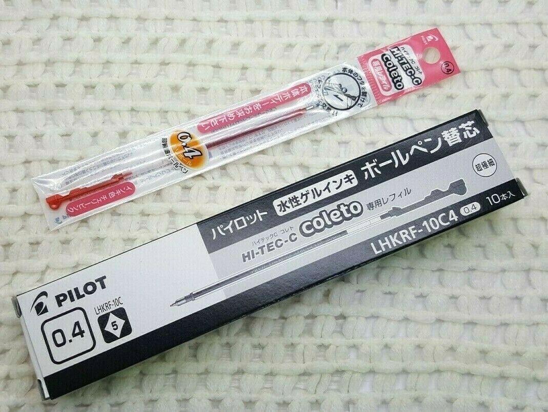 free ship 10 pcs Pilot Hi-Tec-c coleto 0.4mm refill LHKRF-10C4 CORAL PINK ink
