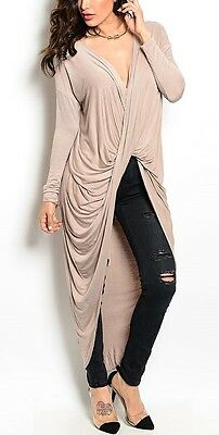 Crossbody Long Sleeve Asymmetrical Maxi Drape Hi-Low Cardigan/Cover-Up Top