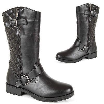 Pantorrilla Botas Altas muchachas mujeres de las Señoras Botas De Motorista Negro Escuela Informal Zapatos Talla 3-8