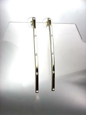 CHIC Thin Lightweight Gold CZ Crystals Long Stick Earrings