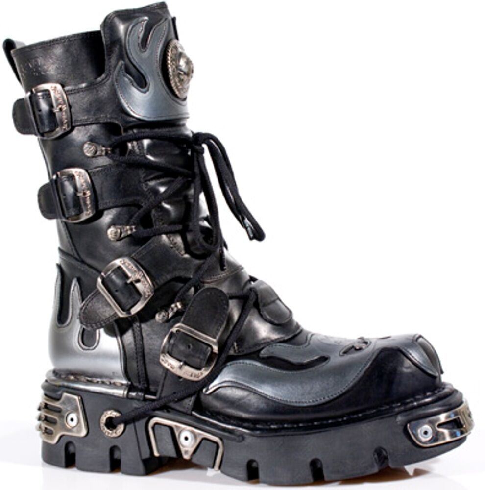 New Rock Boots Unisex Punk Gothic Stiefel - Style 107 S2 Silber