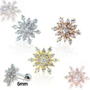 Tragus-Piercing-Helix-Ohr-Schneeflocke-Eiskristall-Zirkonia-CZ-rose-gold-silber
