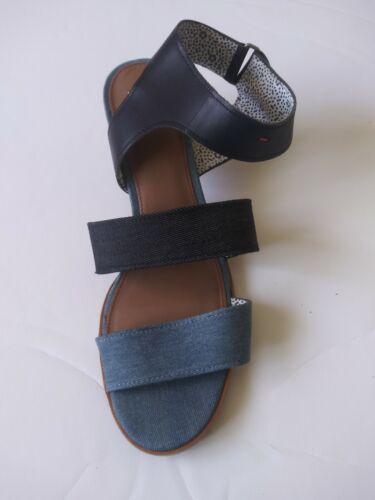 ED Ellen Degeneres. Blue Denim Block Heel Sandals