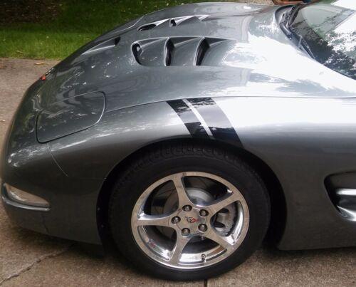 Fits Chevy CORVETTE C4 NEW Black Glossy Vinyl FENDER HASH STRIPES Driver Side