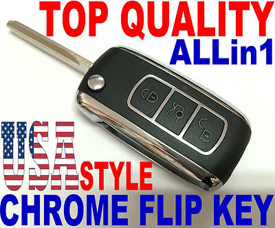 CHROME FLIP KEY REMOTE FOR FORD 40BT KEYLESS ENTRY TRANSPONDER CHIP FOB CLICKER
