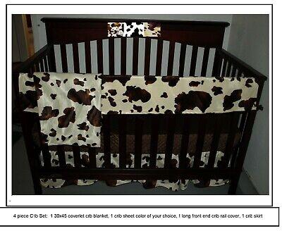 Western Baby Bedding Set Cow Print, Western Baby Bedding Crib Sets