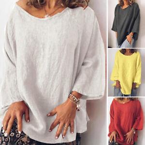 Mode-Femme-100-coton-Manche-Longue-Col-Rond-Casual-en-vrac-Haut-Shirt-Plus