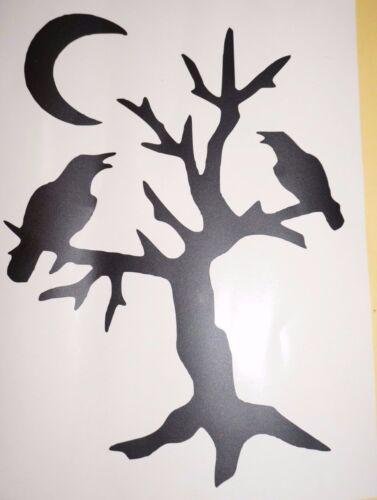 Wall Sticker custom Vinyl indoor decal window laptop removable crow raven tree