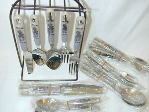 21 pc flatware set western lodge theme stainless w counter stand hanging ebay - Flatware set with stand ...