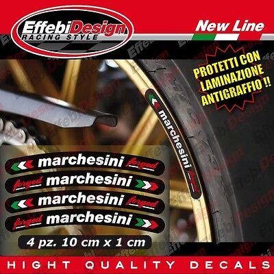4 Adesivi cerchi MARCHESINI BIANCHI Ducati Aprilia Bmw Honda Suzuki H.QUALITY
