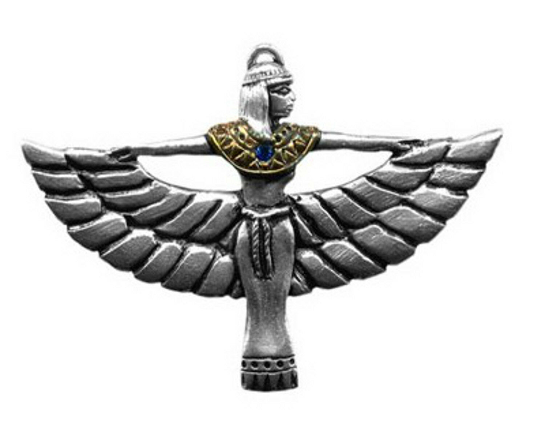 Colgante Egipcio Isis De Peltre Plateado + Cadena