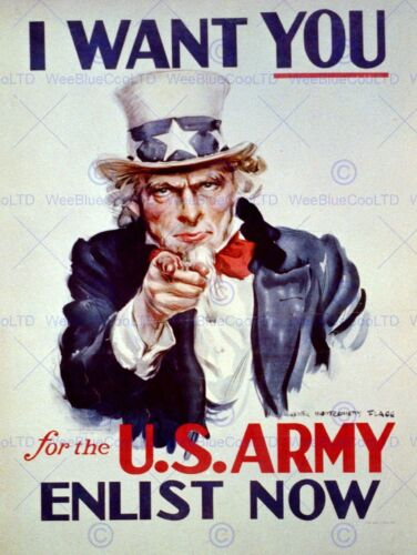 PROPAGANDA UNCLE SAM USA ARMY WANT YOU VINTAGE POSTER ART PRINT 12x16 inch 883PY