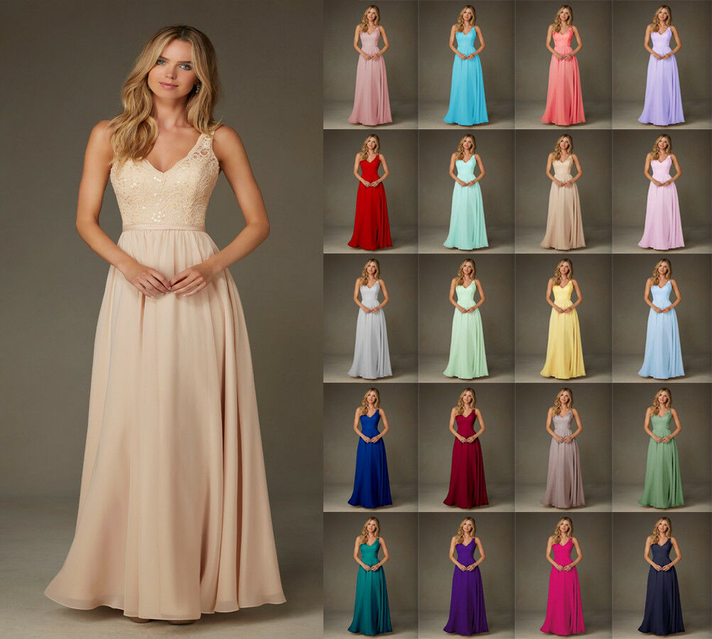 Formal Long Lace Evening Party Ball Gown prom dress Bridesmaid Dresses Size 6-24