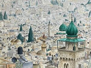 Signed Original Old City of Nablus Ink and Watercolour by Mollie Turner