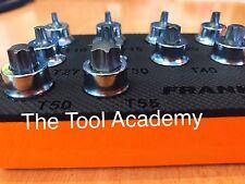 Franklin bajo perfil 10Pce Torx Estrella Socket Bit Conjunto de 3/8 con bandeja de espuma T10-T55