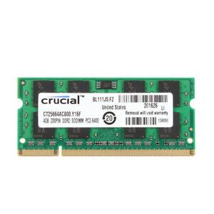 Crucial 4GB PC2-6400S DDR2-800 MHz 200pin RAM SO-DIMM Laptop Memory