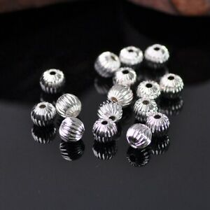 50Pcs-6mm-Round-Ball-Wrinkled-Alloy-Metal-Loose-Spacer-Beads-Jewelry-Findings