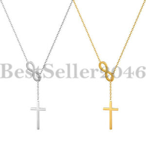 Silver Cross and Infinity pendant Lariat Adorable necklace USA Seller