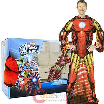 Marvel Avengers Iron Man Fleece Blanket with Sleeves :Adult Size Cozy Throw