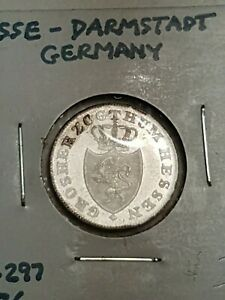 1834-Germany-Hesse-Darmstadt-6-kreuzer-in-EF-condition