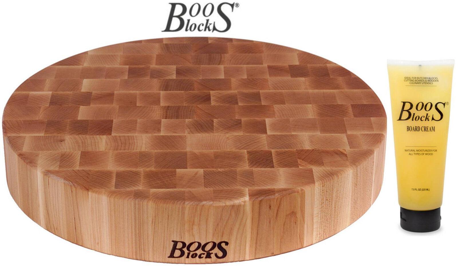 Boos blocco Prep blocco taglio Brett acero Ø 46 x 7,5 cm + Crema per la cura  bb28