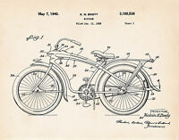 Vintage 1940 Elgin Bluebird Bicycle Booty Patent Art Print - Ready To Frame