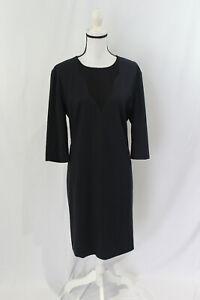 BOSS Hugo Boss Womens Blue and Black Diabina Wool Shift Dress Size 14