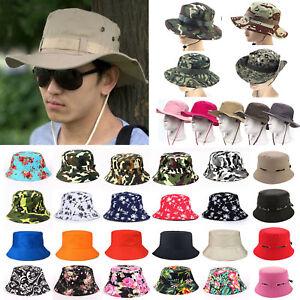 Mens Bucket Hat Boonie Hunting Fishing Cap Wide Brim Military Sun ... fecd2f714c60