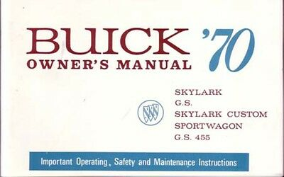 1970 Buick Gran Sport GS Owners Manual User Guide Reference Operator Book Fuses