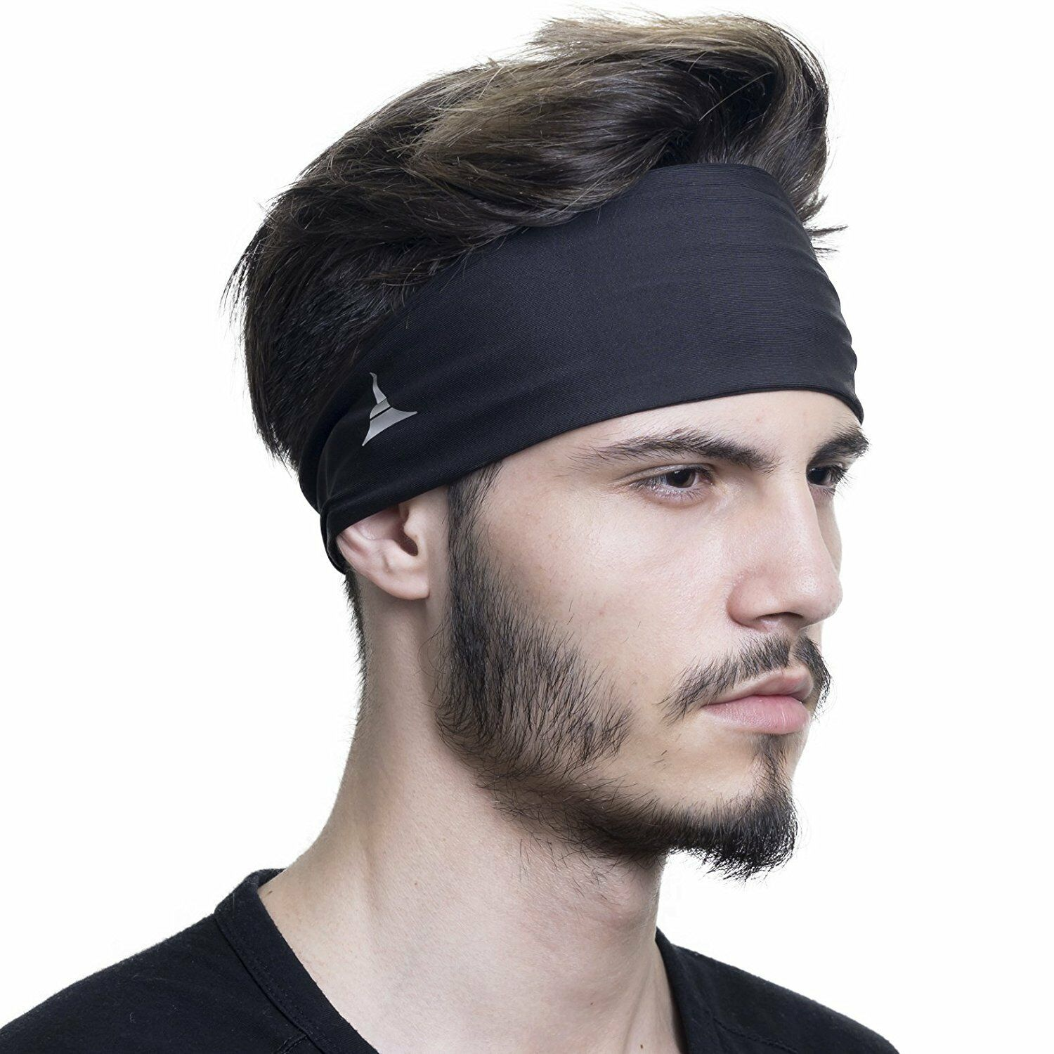 Elimoons 2-Layer Mens Headband 4 Pack Non Slip Sweatband Running Sports Headband for Men//Women Training Basketball Hairband Performance Stretch /& Moisture Wicking for Workout,Yoga,Gym,Bike