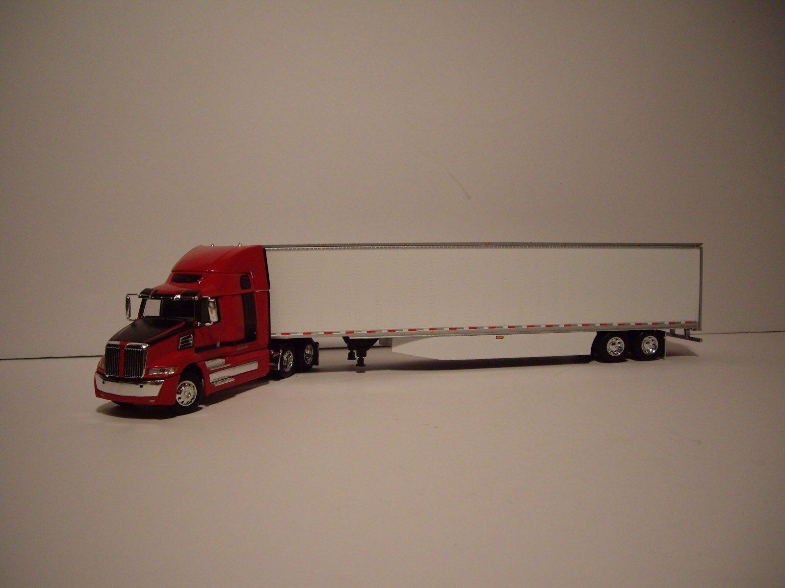 DCP 1 64 Rojo y Negro Western Estrella 5700XE con T 68  durmiente y Dry Van Trailer