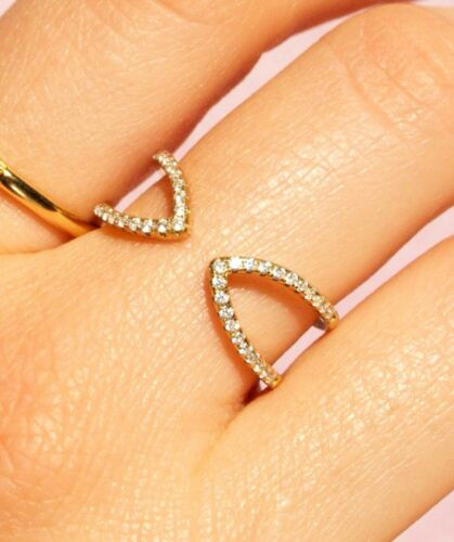 Sterling Silver 925 gold plate fine skinny stacking cz open adjustable ring