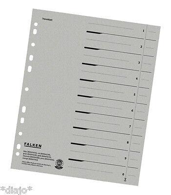 FALKEN Trennblätter Mix Register Einleger Karton für A4 Ordner 24 x 30