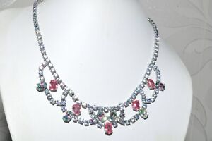 GORGEOUS-VINTAGE-GARLAND-NECKLACE-OF-RAINBOW-IRIS-GLASS-AND-PINK-RHINESTONES