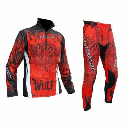 Wulfsport Adults Aztec Motorcycle Motor Bike Trials Jersey /& Pants Kit Red