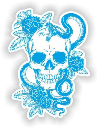 Cyan /& White Skull Sticker Rose Snake Skeleton Car Guitar Book Door Skate #01