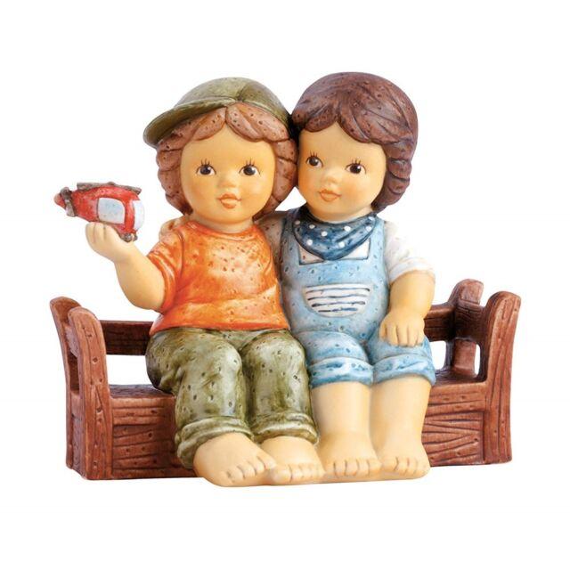 "Goebel Nina & Marco Figurine "" Best Friends "" on Bench Sitting"