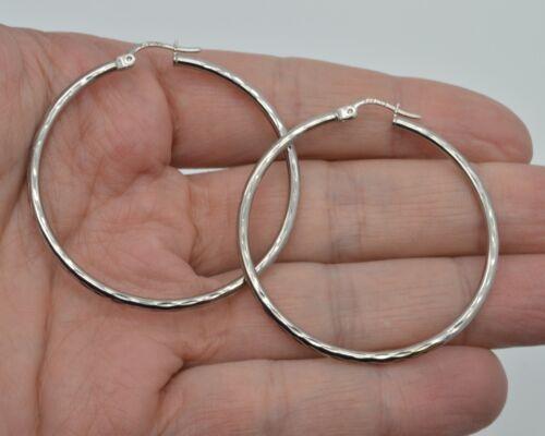 2.4gr 10k Solid White Gold big Large hoop  Diamond Cut Earrings 45mm x2mm
