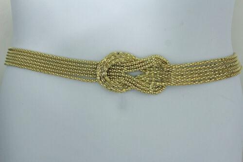 Women Fashion Belt Hip High Waist Gold Metal Chain Link Thin Knot Strands S M