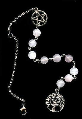 Rose Quartz Car Charm/Dangler w/Tree of Life & Pentacle
