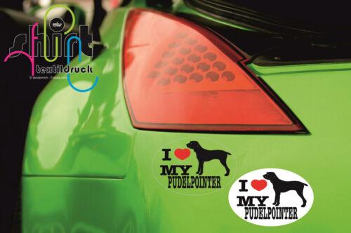 I love my  Pudelpointer Hund Dog Aufkleber  Autoaufkleber KFZ Sticker DA 233