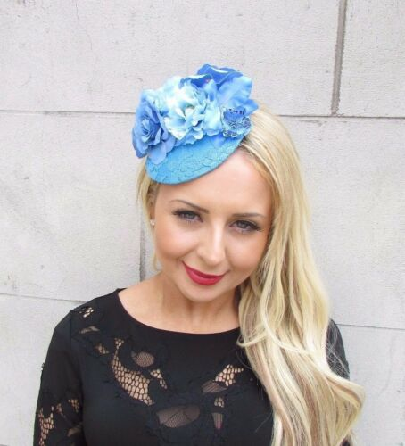 Sky Light Blue Rose Flower Fascinator Races Wedding Pillbox Hat Clip Hair 3316